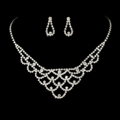 Necklace Earring Set 70918 Silver Clear **3 left**