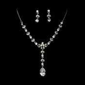 Necklace Earring Set NE 990 Silver Clear