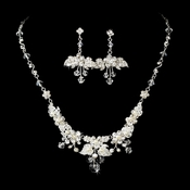 * Necklace Earring Set NE 7216 Silver White