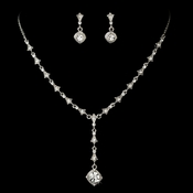 Dreamy Antique Silver Clear Crystal Necklace & Earring Set 994
