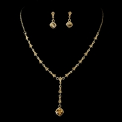 Dreamy Gold Topaz Crystal Necklace & Earring Set 994