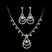 * Necklace Earring Set NE 10086 Silver Clear