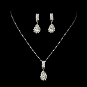 Necklace Earring Set 70090 Silver Clear