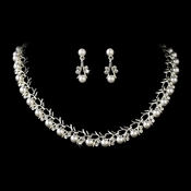 Necklace Earring Set 71400 Silver White