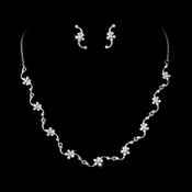 * Necklace Earring Set 71695 Silver Clear