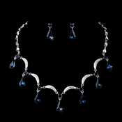 Silver Navy Necklace Earring Set 71562