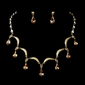 Gold Light Brown Necklace Earring Set 71562