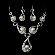 * Silver Ivory Clear Necklace Earring Set 8547