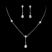 Silver Clear Cubic Zirconia Drop Jewelry Set NE 71778**Only 1 Left***