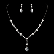 Glamorous Silver Clear CZ Necklace N 3673 & Earring Set E 3784