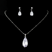Silver Clear Necklace Earring Set 8420