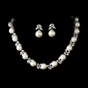 Silver Diamond White Pearl Necklace 2592 Earrings 5152 Jewelry Set