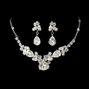 Silver Crystal Bridal Jewelry Set NE 8314