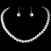 Necklace Earring Set 10912 Silver White