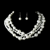 Multi Strand Pearl Necklace & Earring Set NE 8346 ***Discontinued****
