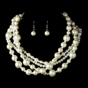 Multi Strand Pearl Necklace & Earring Set NE 8346***Discontinued***