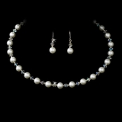 White Pearl Choker Necklace & Earrings Set 511