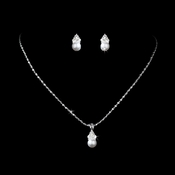 Necklace Earring Set NE 112 Silver White