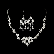 * Necklace Earring Set NE 843 Silver White