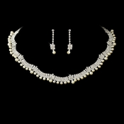* Glamorous Silver Clear Rhinestone & White Pearl Necklace & Earring Set 4863