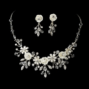 Porcelain Flower Accented Necklace Earring Set NE 7305