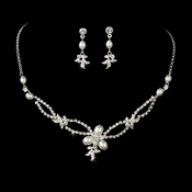Lovely Silver Clear Rhinestone & White Pearl Necklace & Earring Set 7329