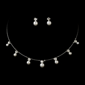 Necklace Earring Set 71408 Silver White ***0 Piece Left***