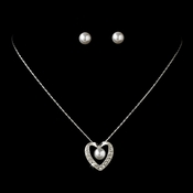 Necklace Earring Set 71626 Silver White