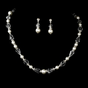 Captivating Silver White Pearl & AB Crystal Bead Necklace & Earring Set 8148