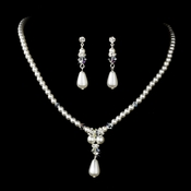 Elegant Silver White Pearl & AB Crystal Necklace & Earring Set 8151