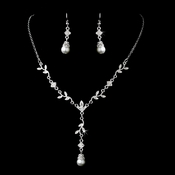 Silver Clear Diamond White Pearl Necklace Earring Set 72030
