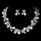Pearl & CZ Necklace Earring Set 1306