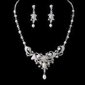 Silver Clear Crystal & Freshwater Pearl Necklace Earring Set NE 6820
