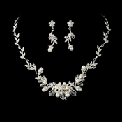 Silver Swarovski Crystal & White Pearl Necklace Set NE 7223