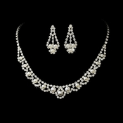 Fabulous Rhinestone Pearl Necklace & Earring Set 224 (Silver White or Gold Ivory)