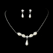 Elegant Pearl Tear Drop Necklace Earring Set NE5101