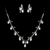 Pearl and Rhinestone Jewelry Set NE 70359 (Silver or Gold)