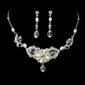 Silver Crystal & Pearl Bridal Jewelry Set NE 7804