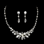 Silver Pearl Bridal Jewelry Set NE 8234