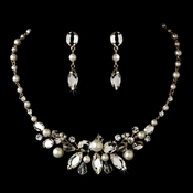 Gold Pearl Bridal Jewelry Set NE 8234