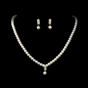 * Gold and Ivory Pearl Necklace and Earring Set NE 126