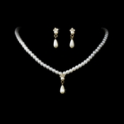 * Necklace Earring Set NE 128 Gold Ivory