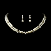 Gold & Ivory Pearl Necklace Earring Set NE 132