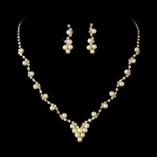 * Necklace Earring Set 19956 Gold Ivory