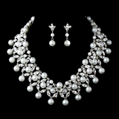 Silver Clear Necklace Earring Set 71636