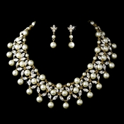 Gold Ivory Necklace Earring Set 71636