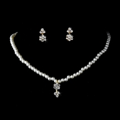 Gold Ivory Child's Rhinestone Flower & Pearl Jewelry Set NE 402