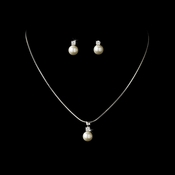 Simple Pearl Drop Necklace Earring Set NE 2045 Silver Ivory