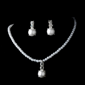 Gorgeous Silver Clear Rhinestone & White Pearl Necklace & Earring Set 6564