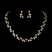 Elegant Gold Clear Bridal Jewelry Set NE 388